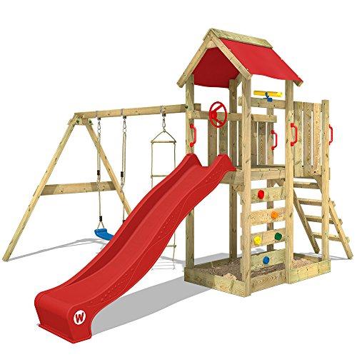 WICKEY Aire de jeux MultiFlyer Portique de jeux en bois Tour d'escalade avec balançoire, toboggan rouge, mur...