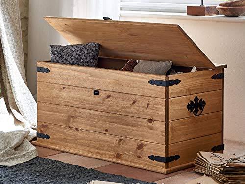 SAM® baúl, madera de pino, Mexico de muebles, mesa con un espacio, encerada, metal negro asas, aprox. 91 x 47 x 50 cm. [521553]