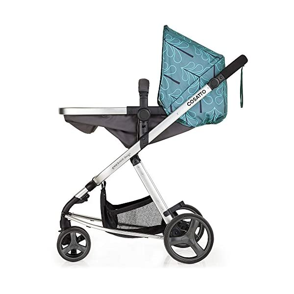Cosatto Giggle Mix Pram and Pushchair in Fjord with Hold Car seat & Raincover Cosatto Includes - Pram & Pushchair, Hold Car seat, Adaptors, Apron and Raincover Suitable from birth up to 15kg, One unit transforms from newborn pram mode into pushchair mode. Space saving. No need to buy separates. 'In or out' facing pushchair seat lets them bond with you or enjoy the view. 7