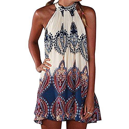 Damen Kleid Kleider (SUNNOW® NEU Damen Kleider Miniklei Sexy Partykleid modisch beiläufig loses Blumen gedruckt ärmellos Frauen Sommerkleid Strandkleid)