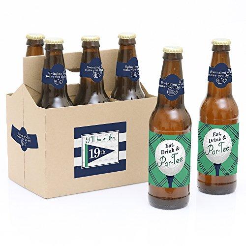 f-6Geburtstag oder Ruhestand Party Bier Flasche Etiketten mit 1Bier Carrier ()