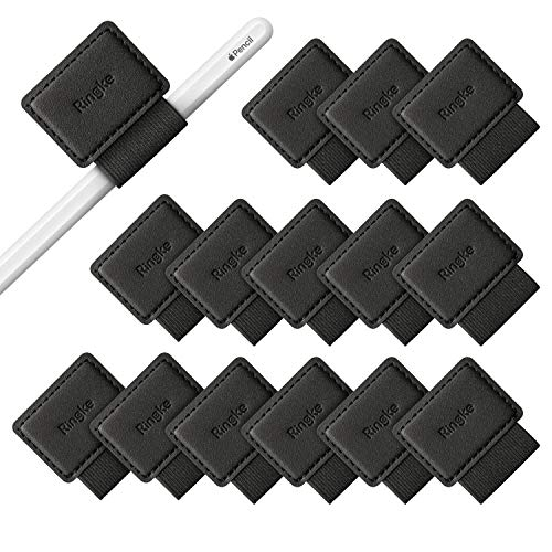 Ringke Pen Holder [15 Stück] für Apple Pencil Halter Hülle, Tagebuch, und Mehr - Selbstklebend PU Leder Stiftschlaufe mit Gummiband Eingabestift Klappe Zubehör - Schwarz Black Chrome Apple