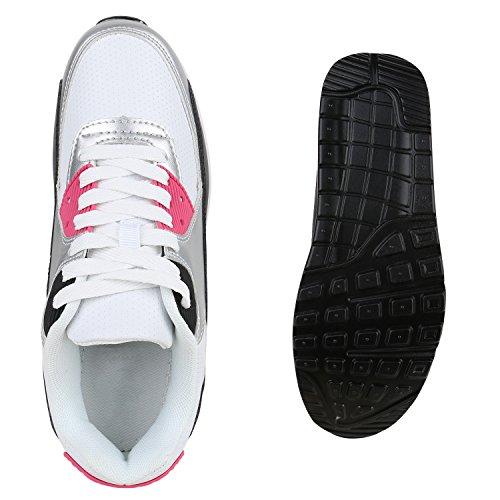 Damen Sportschuhe Laufschuhe Profilsohle Neon Schnürer Runners Silber Pink