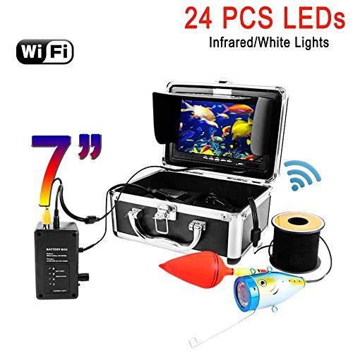 WG 7 '' WiFi Fish Finder Video Kamera Aufnahme Edition IP68 HD 1000TVL Unterwasser Eisfischen Kamera 24 Infrarot LEDs,50M