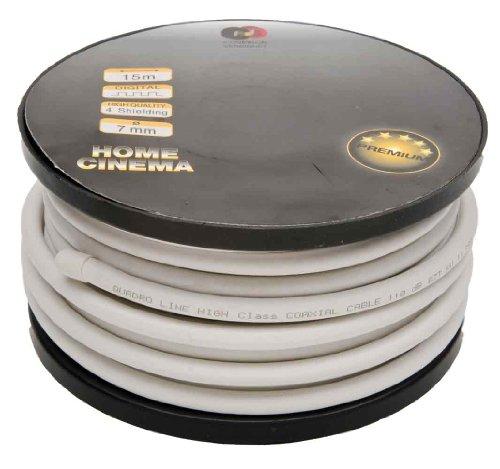 Preisvergleich Produktbild REV Ritter Premium Koaxial-Kabel Durchmesser 7 mm, 15 m, weiß, 009375101210