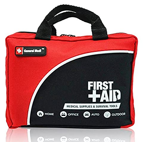 160 Piece Premium First Aid Kit Bag - Includes Cold (Ice) Pack, Emergency Blanket, Glow Stick, Compass, Scissors for Travel, Home, Office, Car, Camping, Workplace