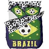 Catherine Lansfield 200 x 200cm Plus 50 x 75 cm /2 pillowcases Brazil DB Quilt Set, Multi-Colour