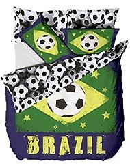 Catherine lansfield parure de lit football brésil coupe du monde housse de couette 200x200 cm