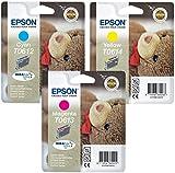 Epson Multipack DuraBrite Ultra Original Tintenpatronen T0612 Cyan, T0613 Magenta, T0614 Gelb, 3 Stück