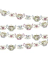 Talking Tables 22 x 23.5 x 1 cm 4 m Truly Alice Decorative Teapot Party Bunting, Multi-Colour