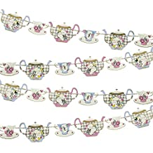 Talking Tables Truly Alice in Wonderland Hanging Teapot Garland for Birthday, Tea Party, Wedding and Party Celebrations, Mad Hatter Party, Multicolour (4m)