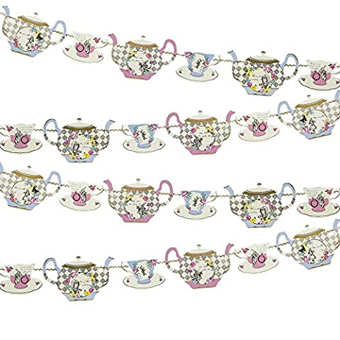 Talking Tables Truly Alice Hanging Teapot Bunting (4m) for a Tea Party, Multicolor