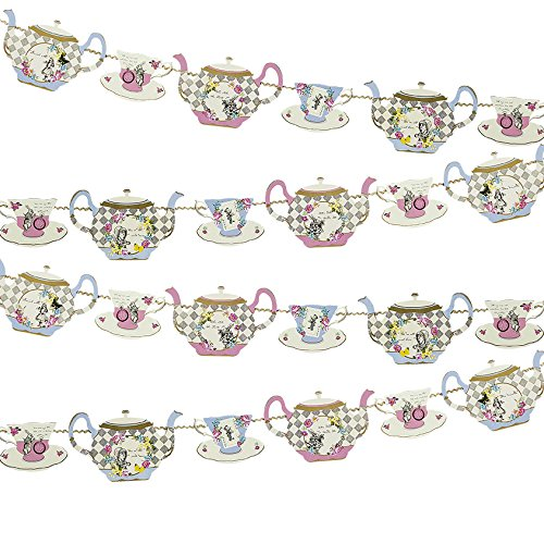 Talking Tables Alice in Wonderland Bunting Mad Hatter Tea Party, Fabric, Mixed Colours, Length 4M, 13ft