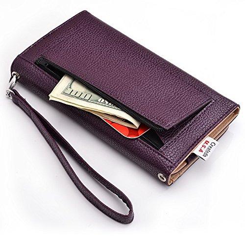 Kroo d'embrayage avec dragonne Portefeuille 16cm Smartphones et phablettes pour Pantech Vega No 6 Rose violet