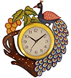 #8: JaipurCrafts Beautiful Wooden Peacock Emboss Painting Wall Clock (Multicolor) (12 IN x 14 IN)