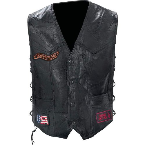 Genuine Buffalo Leather Eagle Patch Biker Vest Large by B&F SYSTEM Chaps-mens Tie