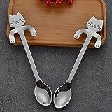 Gloryhonor 1PC in acciaio INOX 304mini gatto caffè tè Hanging Cup cucchiaio da cucina gadget 11.8cm x 1.8cm Silver