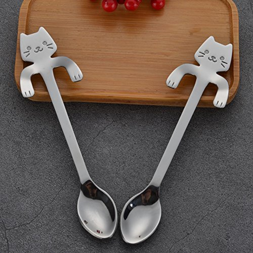 Cucharas colgantes de Gloryhonor, 1 unidad, acero inoxidable 304, mini gato, para café o té, utensilio...
