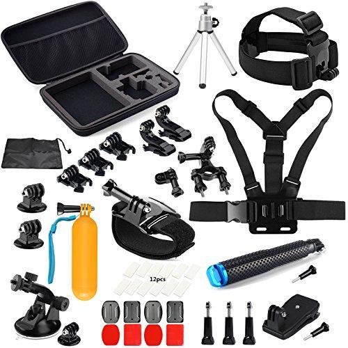 SHOOT Accessories Pack 45 en 1 Kit pour GoPro Hero 6/5/4/3 +/3/HERO(2018)/Fusion Crosstour Campark YI 2K Nouveau APEMAN Tectectec Cam Sports de plein air Action Camera Accessoires