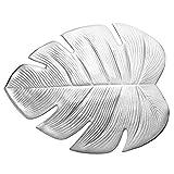 D-SYANA8 - Manteles individuales y posavasos artificiales, diseño de hojas de Monstera plata