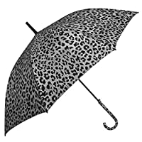 Long Umbrella Woman Girl - Stick Umbrella with Animal Print and Fabric Wrapped Handle - Windproof Resistant Brolly in Fiberglass - PFC Free - Automatic Opening - Diam 102 cm - Perletti Time