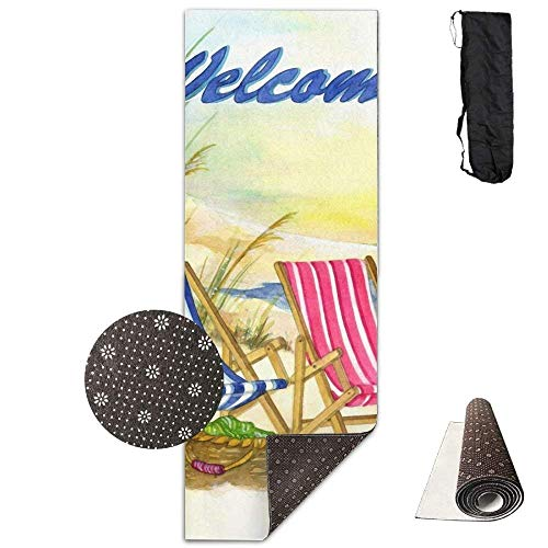 FGRYGF Non Slip Fitness Exercise Mat, Workout Mat for Yoga, Pilates and Floor Exercises, Welcome Beach Chairs Seashore Sunset Deluxe Yogamatte Aerobic Exercise Pilates