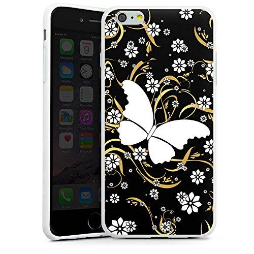 Apple iPhone X Silikon Hülle Case Schutzhülle Schmetterling Blume Muster Silikon Case weiß