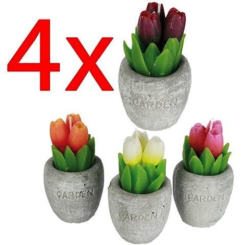 4 X TULIP FLOWER SHAPED CANDLE POLYRESIN POT HOME GARDEN GIFT DECOR OUTDOOR WAX