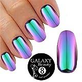 Poudre caméléon pour ongles effet miroir vert et violet pailleté