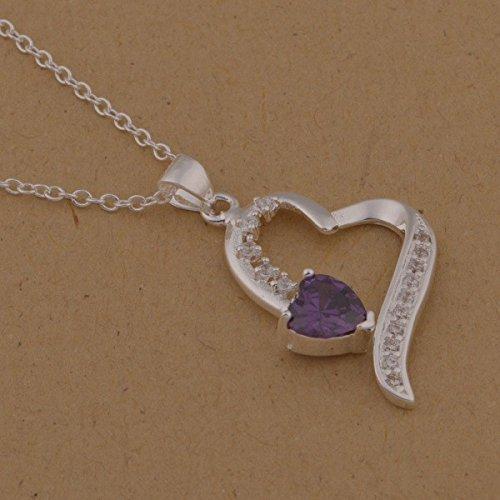 Collier coeur argent 925 et coeur cristal swarovski elements zirconium Violet