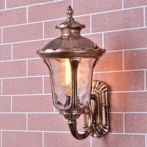 Distressed Gold Finish (Xungzl Traditionelle Wandleuchte Wandlampe Laterne 1 × E27 Vintage Retro Metall Distressed Antik Messing Finish Flur Wintergarten Balkon Veranda)