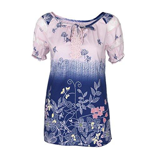 OverDose Damen Blumen Spitze Tops Frauen Kurzarm V-Ausschnitt Spitze Gedruckte Lose T-Shirt Bluse Oberteile Tees Shirt(Pink,4XL)