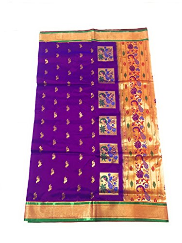 Hariom wholesale depo Silk Saree With Blouse Piece (Pshprani_Violet With Green Blouse_Free...