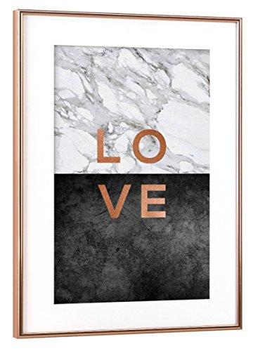 Metallic Abstract Print (artboxONE Poster mit Rahmen Kupfer 30x20 cm Love von Orara Studio - gerahmtes Poster)