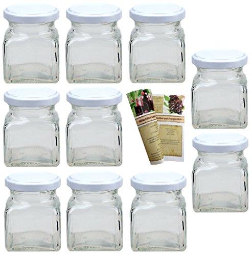 """Flaschendiscount 40 leere eckige Einmachgläser """"Quadrat"""" 120 ml incl. Drehverschluss Weiß und Rezeptbroschüre, Vorratsgläser, Marmeladengläser, Gewürzgläser, Einweckgläser"""