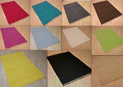 Handwebteppich Fleckerlteppich einfarbig uni 100% Baumwolle Handweb Teppich Fleckerl Waschbar NEU (Petrol, ca. 40x60 cm)