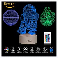 3D LED Star Wars Night Light, ZNZ Illusion Lamp Three Pattern and 16 Color Change Decor Lamp - Perfect Gifts for Kids and Room Room Decor