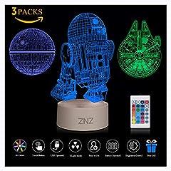 Idea Regalo - Lampada da notte a LED 3D - ZNZ 16 colori Lampada da tavolo a LED dimmerabile con telecomando per bambini, luci 3D Illusioni ottiche Lampada da tavolo per arredamento (Star Wars)