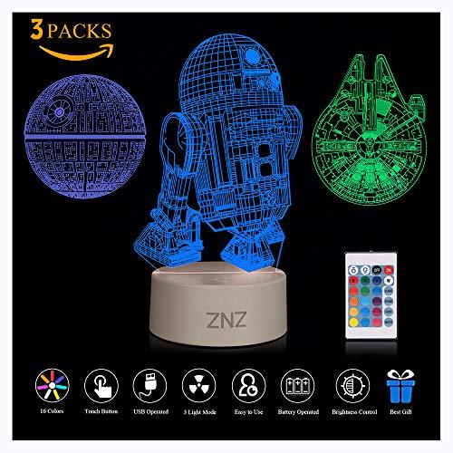 Veilleuse 3D Star Wars, ZNZ Lampe Illusion Étoile de le Mort + R2-D2 + Faucon Millenium, Trois Motifs et 16 Couleurs Changeantes - Cadeaux parfaits pour les enfants et les fans de Star Wars - 3 Packs