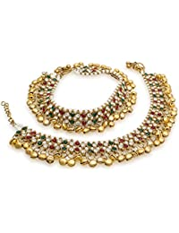 Bollywood Style Ethnic Gold Plated Anklets With Ghungroos And Red / Green Stones With Small Pearls Ghungroos Anklets
