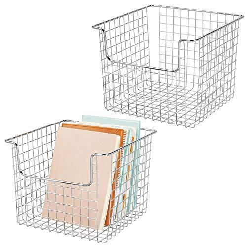 Mdesign set da 2 contenitore portaoggetti in filo metallico per armadio e scaffali - pratico organizer per il bagno, la cucina e l'ufficio - porta oggetti bagno aperto metallo - argento