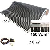 Calorique Infrared Heating Foil Underfloor Heating Kit 3,0 m², 100 cm 150 W/m² – effective and energy-saving heating for new construction or old-building renovation