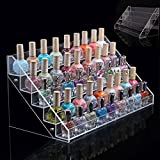 Large 5 Tier Acrylic Nail Polish Stand | Holds up to 65 Nail Varnish | Retail Cosmetic Display | Makeup Storage rack |