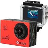 QUMOX WIFI SJ4000 - Cámara de deporte para casco impermeable, video de alta definición, 1080p 720p, color rojo