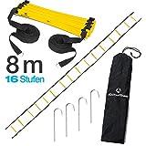 #DoYourFitness® Koordinationsleiter/Fitnessleiter - Länge 4m 6m 8m - Trainingsleiter (ENGL Agility Ladder) BZW. Konditionsleiter für Beweglichkeitsübungen/Schnelligkeitstraining 8m gelb/schwarz