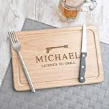 Novelty gifts for men man him dad - personalised Wooden Chopping Board - funny Birthday present idea - James Bond Birthday - 'Licence to Grill' - 30x20cm