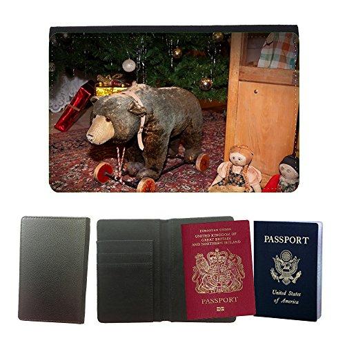 Cubierta del pasaporte de impresión de rayas // M00134014 Orso Giocattoli Teddy Teddy Bear mobile // Universal passport leather cover