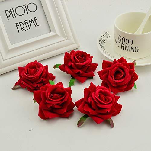 RENZAOHUAR Künstliche Blume 100pcs Seide Rose Kopf Stickerei Kranz Hut Blume Rot Künstliche Blume Nach Hause Hochzeitsdekoration -