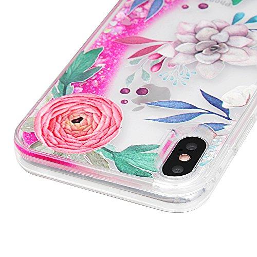 Badalink Hülle für iPhone X Blumen Flamingo Treibsand Cover TPU Rahmen + PC Bottom Schlanke Buntes Handyhülle Schutzhülle Silikon Schutz Tasche Kratzresistente Schale mit Schick Eingabestifte Blume Pfingstrose