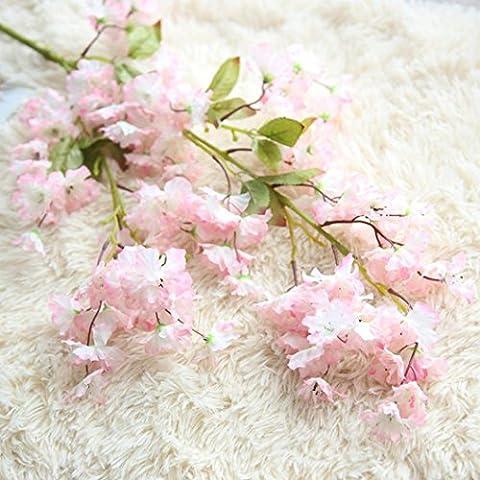 Zycshang 1branche romantique Fresh-looking artificielle fleur de cerisier en soie de mariage Hortensia Home Décor de jardin